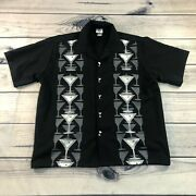 Vintage Casino Wear Button Up Shirt Mens Xl Black Martini Relaxed Camp Casual
