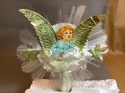 Vintage Spun Glass And Paper Board Angel Tree Topper By National Tinsel Company