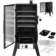 Vertical Charcoal Smoker 42 Bbq Barbecue Grill W/ Temperature Gauge Black Us