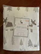 Nwt Pottery Barn Kids Blush Winter Reindeer Twin Flannel Sheets Christmas