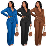 Fashion Women's V Neck Long Sleeves Buttons Casual Long Jumpsuit Suits Outfits