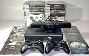Microsoft Xbox 360 S Slim 250gb Console Kinect Bundle W/3 Controllers And 36 Games