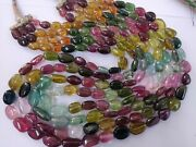 Natural African Multi Tourmaline Gemstone Smooth Oval Tumble Beads 23 Necklace