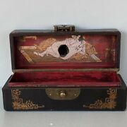 Antique Chinese Pillow Box Hand Painted Lovers Inside Leather Exterior Wood