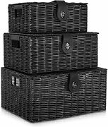 Set Of 3 Woven Storage Basket Box Wicker Hamper Stackable Bin With Lid And Black