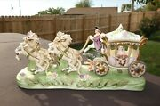 Vintage Dresden Capodimonte Horse And Carriage Sculpture