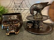 Williams Sonoma Skull Punch Bowl Cakestand Crow Chip And Dip Platter 5 Pieces
