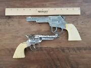 Two Silver With White Handle Toy Cap Pistols, Guns, Vintage, Used
