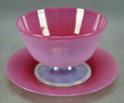 Steuben Rosaline Hand Blown Pink Opalescent Footed Glass Bowl And Under Plate