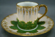 Klingenberg Limoges Hand Painted Jewelled And Raised Gold Pink Green Cup And Saucer