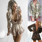 Sexy Women Fashion Sequins Transparent Deep V-neck Bind Thin Party Jumpsuits