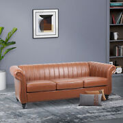 New Vintage Style Pu Leather Space Sofa Couch Reversible Chaise Armchairs Brown