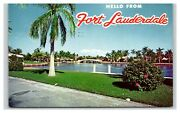 Vintage Postcard 1965 Fort Lauderdale Fl Hello Greeting Canal Trees Water