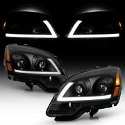 For 2007 2012 Gmc Acadia Black Led Headlights Headlamps Replacement Right+left
