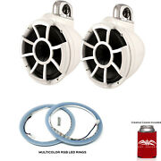 Wet Sounds Rev 10 Fixed Clamp Tower Speakers With Rgb Led Speaker Rings White