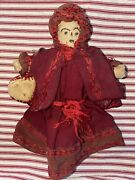 Antique American Folk Art Clothes Pin Doll Stitched Face
