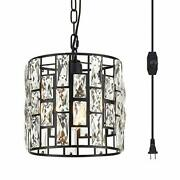 Ylong-zs Hanging Lamps Crystal White Swag Lamp Rustic Pendant Light Plug In 1...
