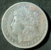 1884-s Morgan Silver Dollar Au 26.73gr. Strong Date And Mint Mark