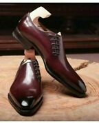 Handmade Menand039s Genuine Burgundy Leather Side Lace Up Whole Cut Formal Shoes