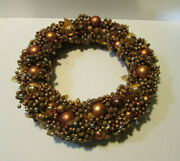 Grapevine Wreath Covered With Rose Gold Silver Balls Frosted Berries Leaves Fall