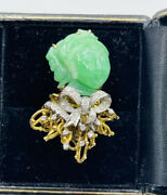 Vintage 18k Yellow Gold Green Jade And Diamond Jade Lady Ring Size 7 Signed Kevin