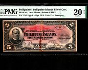 Philippines 5 Pesos 1903 P-26a Pmg Vf 20 Net Silver Certificates