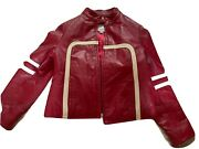 Wilson Leather Maxima Womens Size L Red Biker Look Jacket With White Stripes