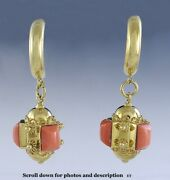 Fabulous Modern Italian 18k Gold And Pink Coral Earrings