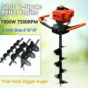52cc 1900w Petrol Earth Auger Post Hole Digger Plant Tool And 3 Drill Bits 7500r/m