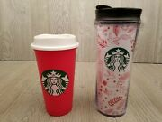 Starbucks Red White Christmas Woodland Tumbler Lid And 2013 Red Plastic Cup Rare