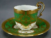 Cauldon Green And Raised Gold Scrollwork Demitasse Cup And Saucer Circa 1890-1904