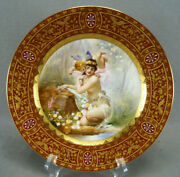 Royal Vienna Style Hand Painted Flora And Zephir Red Raised Beaded Gold Plate
