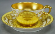 Royal Doulton Raised Beaded Gold And Yellow Gold Interior Demitasse Cup And Saucer