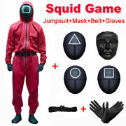 Squid Game Mask Cosplay Jumpsuit Round Six Square Halloween Party Costume Adults