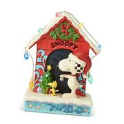 Peanuts By Jim Shore Snoopy By Dog House Lit Figurine, 7 Inch, Multicolor
