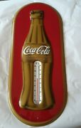 Coca Cola Coke Gold Red Oval Thermometer Advertising Sign Tin Metal 1923 Bottle