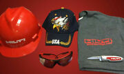 Hilti Hard Hat Red/black, Pocket Knife, And Tinted Safety Glass