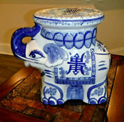 Large Porcelain Ceramic Lucky Elephant Stool Ottoman Plant Stand Table Bombay