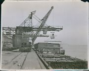 1925 Transferring Steel From Federal Barge At St Louis Wharf Industry Photo 8x10