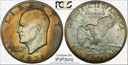 1971-s Eisenhower Silver 1 Dollar Pcgs Unc Detail Harshly Cleaned Toned Coin