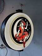 Miller Beer Motion Light Girl In Moon Rotating Pub Sign New In Box Mint