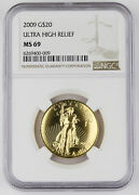 2009 20 Ultra High Relief Double Eagle 1 Oz 9999 Gold Coin Ngc Ms69 Uhr