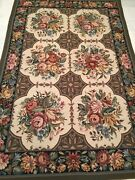 Area Rug Fine Needlepoint Flat Pile Country French Design 4.0 X 6.0 Great Price