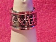 Sterling Silver Zodiac Band Ring - 925 Ss - Nos - Size 6