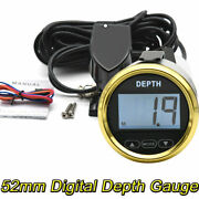 2and039and039 52mm Waterproof Digital Depth Gauge For Car Marine Boat Yacht Red Led Light