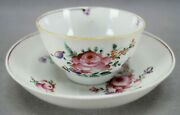 18th Century Chinese Export Hand Painted Pink Rose And Purple Tea Bowl And Saucer