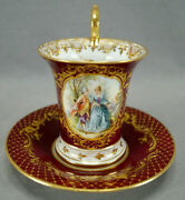 Dresden Hand Painted Watteau Scene Red Maroon Raised Gold Chocolate Cup And Saucer