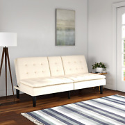 Mainstays Memory Foam Pillowtop Futon With Cupholders Vanilla Faux Leather