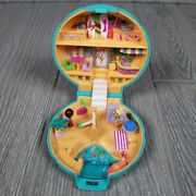 1989 Polly Pocket Bluebird Beach Party Teal Clamshell With Figures Read