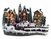 Skating Christmas Village Animated Pre-lit Musical Winter Snow Village With 4